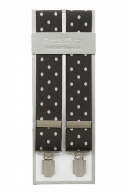 Dark Olive Green Trouser Braces with Large White Polka Dot Design - Available In 3 Sizes